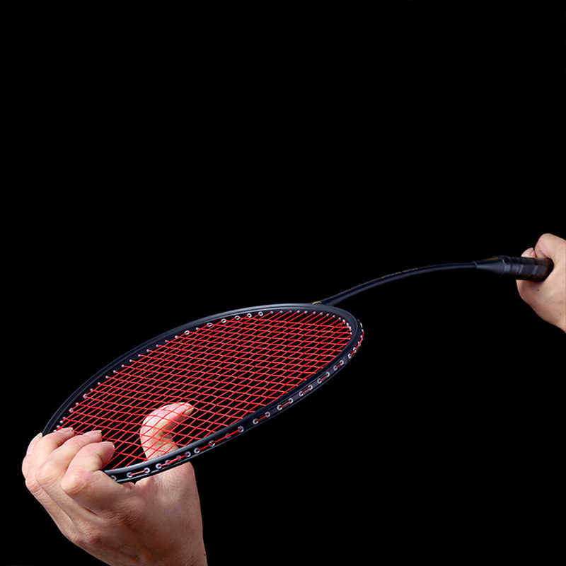 New Graphite Single Badminton Racquet Professional Carbon Fiber Badminton Racket with Carrying Bag LMH66