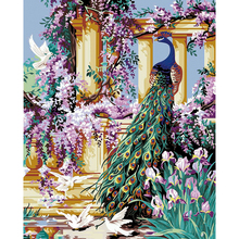 Frameless DIY Oil Painting ,Paint By Numbers Kits ,Modern Animal Art  Peacocks And Flowers Wall Mural Picture Canvas Art Decals Part 57