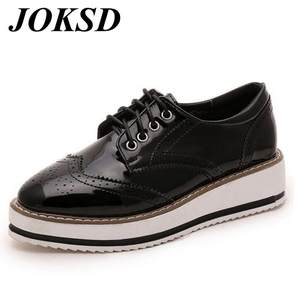 92c8514c9c24 JOKSD Womens Oxford White Black Platform Flat Female Shoes