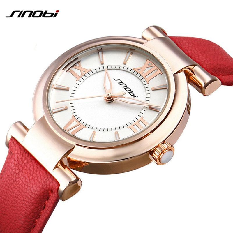 Sinobi Red/White Leather Women Watch Fashion Luxury Ladies Bracelet Watch Casual Girls Dress Wristwatch Clock Hours Reloj Mujer