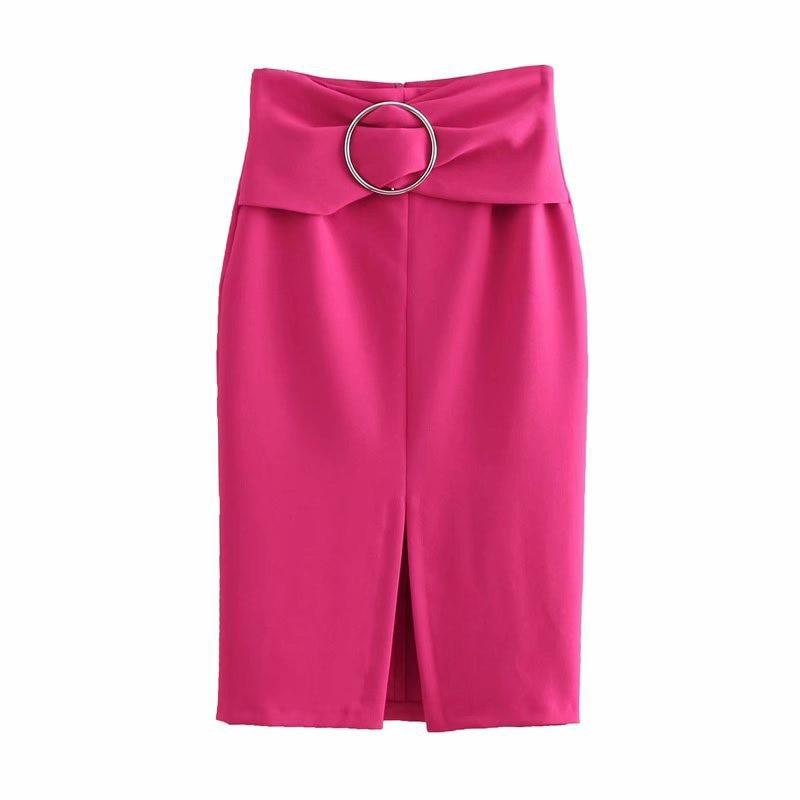 Alto La Longitud Abertura De 2019 Rosado Delantera Slim Rodilla Talle Cintura Con Verano Falda Paquete Diseñado Lentejuelas x7IWUSqw
