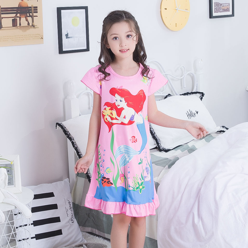 2019 Summer Girls Dresses Cute Pajamas Polyester Nightgowns Ruffle Print Big Girl Sleepwear Cloth Outwear Pajamas Girls Dress2019 Summer Girls Dresses Cute Pajamas Polyester Nightgowns Ruffle Print Big Girl Sleepwear Cloth Outwear Pajamas Girls Dress