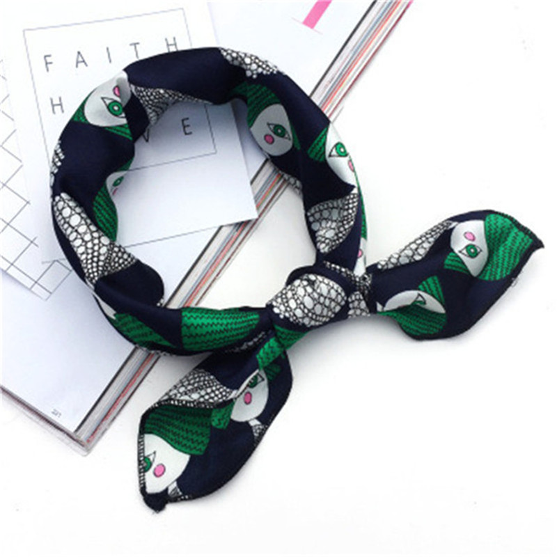 Summer Square Scarf Hair Tie Band Women Wrap Elegant Small Vintage Silk Satin Scarf Head Kerchief Neck