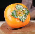 Plump Persimmon Metal Jewelry Box Green Rhinestones on Leaves Collection Metal Crafts Gifts for Family