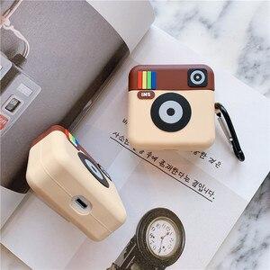 Image 3 - 3D mignon Instagram INS caméra casque housses pour Apple sans fil Bluetooth casque Airpods 1 2 Silicone antichoc couverture découteurs