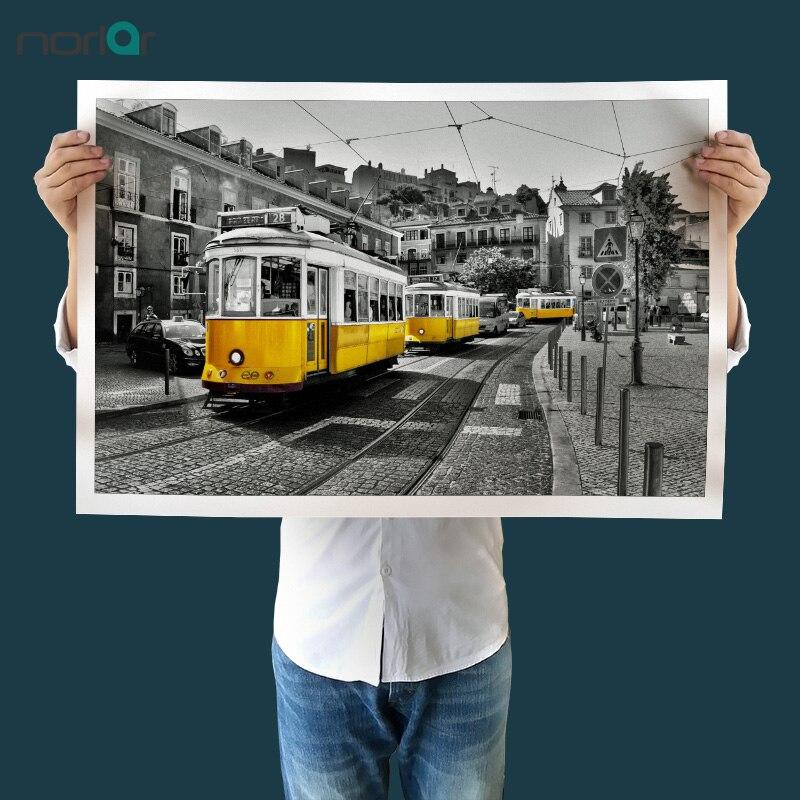 Retro Yellow Lisbon Tram Modern Art Canvas Wall Paintings Black and White Canvas Prints Paintings Art Wall No Frame WALL DECOR