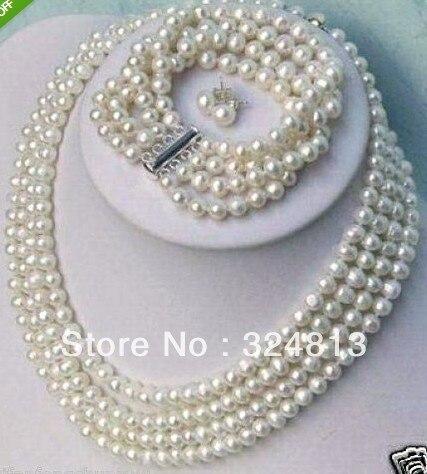 Plus noble 6-7mm blanc d'eau douce Beijing fille boutique collier de perles bracelet boucles d'oreilles ensemble