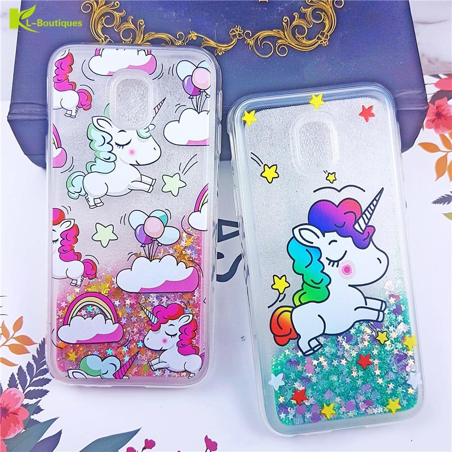 Galleria fotografica Unicorn Liquid Case for Samsung Galaxy J3 J5 J7 A5 3 7 A6 2017 S9 Plus S8 A8 2018 Note 9 8 Cover For iPhone XS Max 8 7 5 6s Plus