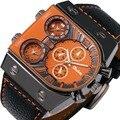 OULM de Los Hombres VENDEDORES CALIENTES del Reloj Militar Correa De Cuero Japón 3 Time Zone Negro IP Caja Cuadrada de Cuarzo-reloj DZ reloj de lujo hombres