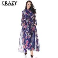 2019 New Spring Women's Plus Size 6XL 5XL XXXL Summer Maxi Dress Elegant Long Flower Print Chiffon Dresses