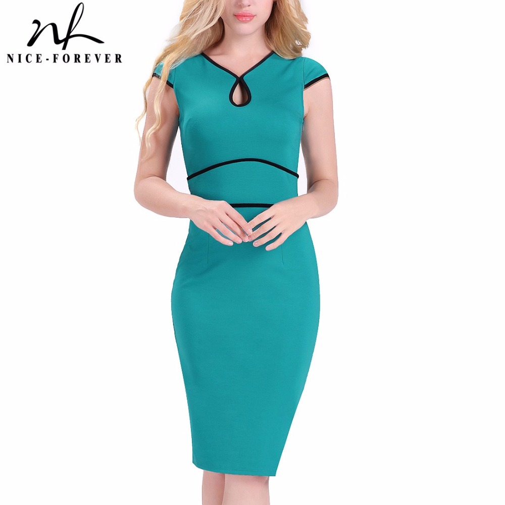 Nice-forever Summer Vintage Solid Fresh Color Wear to Work Cap Sleeve Bodycon Women Office Formal Business Dress B391