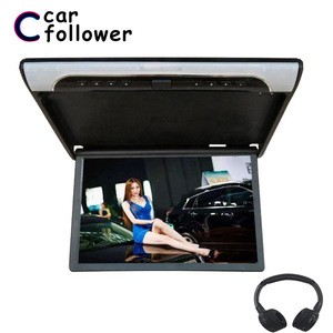 Image 1 - 19 Inch Monitor HD 1080P Ceiling TV For Car Flip Down Mount Monitor MP5 Player Support USB/SD/HDMI/Sperker/IR/FM Transmitter