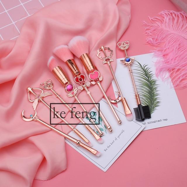 Hot Anime Cosmetic Makeup Brushes Set Tools Kit Eye Liner Shader Foundation Powder Natural-Synthetic Pink Hair 3