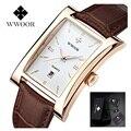 Top brand wwoor hombres reloj cuadrado reloj de cuarzo resistente al agua ultra-delgado hombre de negocios de cuero relojes de pulsera para hombres relogio masculino