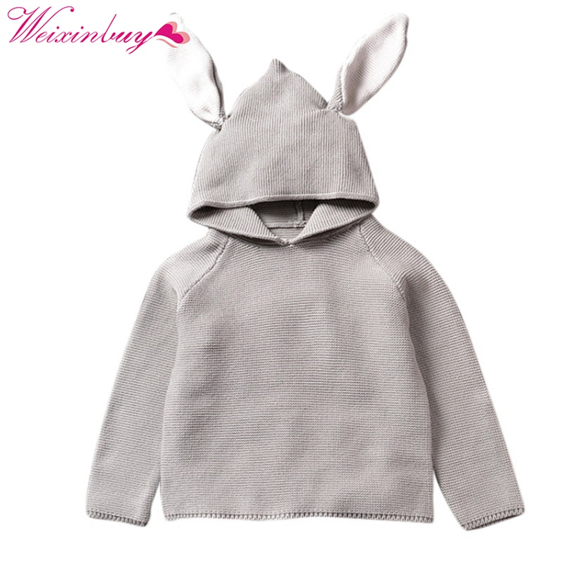 New Autumn Baby Boys Sweaters 3D Rabbit Cotton Sweater Kids Girls Knitted Sweater for 1-5Y Girls Boys Hoodies