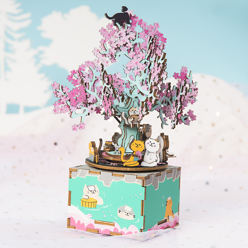 Robud DIY Wooden Blocks 148pcs 3D Wooden Puzzle Cherry Tree Cat Assembly Music Box Gift Toys For Children Kids Adult AM409