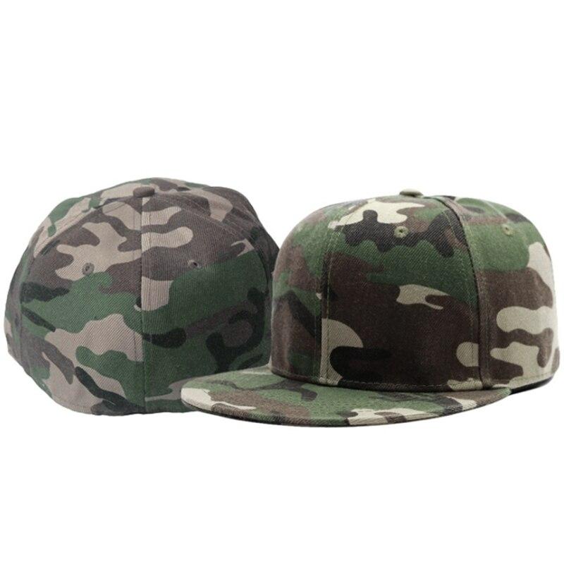 Full close camouflage hip hop   cap   whole closure women men's plus size flat brim bill   baseball     cap   fitted snapback hat 56-62cm
