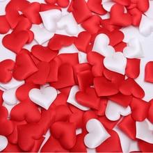 100pcs 3.2cm DIY Heart petals wedding decorations Satin Shaped Fabric Artificial flower decor supplies