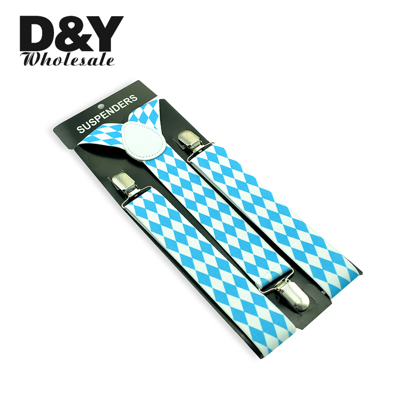 35mm Wide Suspender For Men White Sky Blue Diamond Check Braces Men Suspenders Casual Clothing Trouser Clip On Yback Plaid Strap