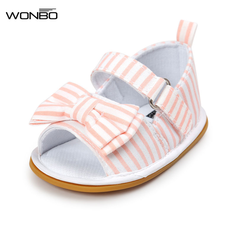 Hot sale New Stripe Bowtie Cute Baby moccasins child Summer girls sandals Sneakers First walkers Infant Fabric shoes 0-18 M