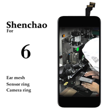 10pcs Mobile Phone Replacement Display For iPhone 6 LCD Touch Screen No Dead Pixel Shenchao Black White Pantalla For iPhone 6G