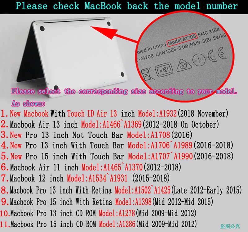 حار جديد 2018 ZAIWJ طباعة محمول جراب للماك بوك الهواء الشبكية برو 11 12 13 15 ل ماك بوك 13.3 بوصة مع شريط اللمس غطاء لوحة المفاتيح
