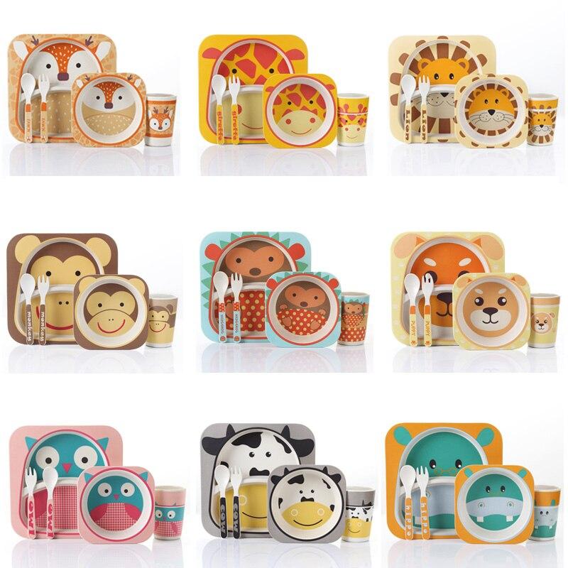 Vaisselle en bambou bol bébé tasse assiettes ensembles 5 pièce/ensemble sous-grille dessin animé vaisselle cadeau créatif pour bébé bambin enfants vaisselle