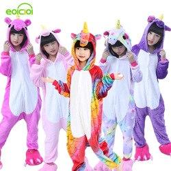 Фланелевые зимние рождественские пижамы Pegasus розовые пижамы с единорогом для девочек Мультяшные животные с капюшоном пижамы onesie мальчиков...