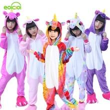 Фланелевые зимние рождественские пижамы Pegasus розовые пижамы с единорогом для девочек Мультяшные животные с капюшоном пижамы onesie мальчиковая пижама Дети