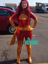 ZentaiHero Plus Size Jean Grey Phoenix Superhero Costume Red And Gold Shiny Metallic Zentai Catsuit for Halloween Party 17020305