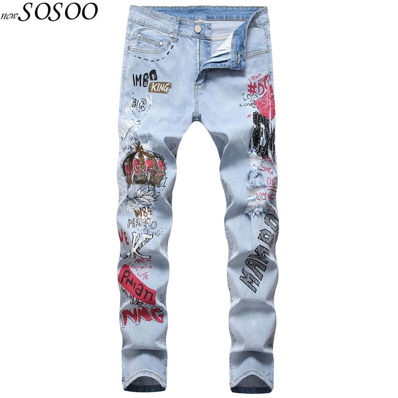 New Style Blue Men Jeans Letter Printed Ripped Jeans For Men 100% Cotton High Quality Fashion Man's Jeans #027