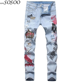 New Style Blue Men Jeans Letter Printed Ripped For 100% Cotton High Quality Fashion Mans #027