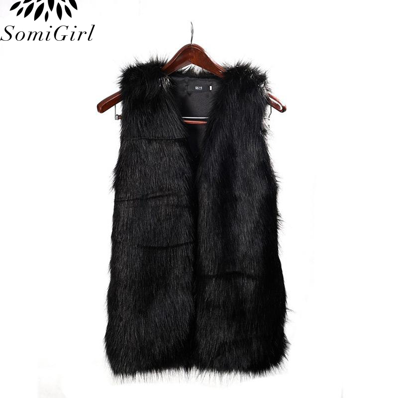 2017 Women Faux Fur Vest Women Special Slim Long Fuax Fur Coat Vest Women XXL Gilet