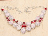 Oval White Natural Stone Red Garnet 925 Sterling Silver Grade Link Chain Necklace N003
