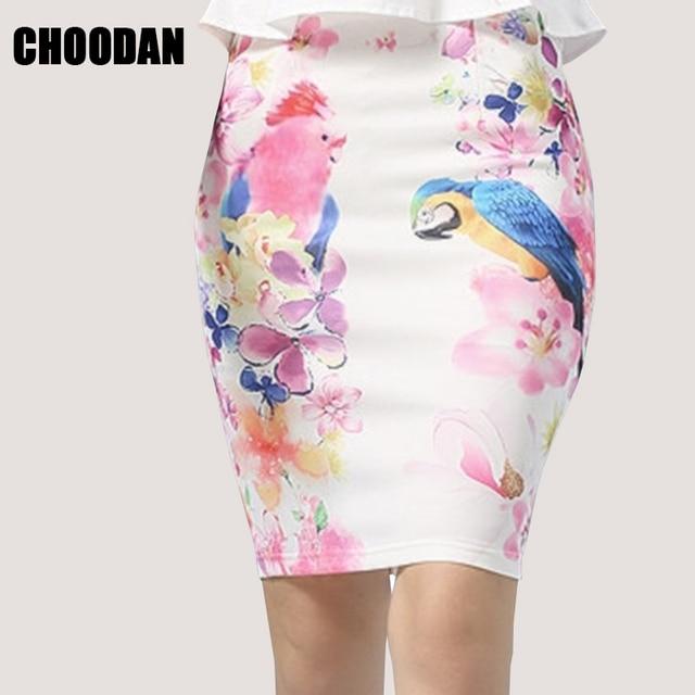 Pencil Skirt Women high waist skirts womens vintage 2018 Summer Style  elegant Lady bodycon floral bird b0361154ecf0