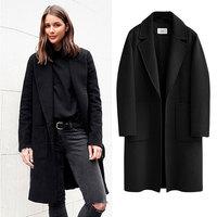 Fashion Winter Alpaca Woolen Coat Women Vintage Fall Warm Solid Turndown Single Breasted Casual Wool Top Female Loose Outerwear