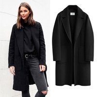 Fashion Winter Alpaca Woolen Coat Women Vintage Fall Warm Solid Turndown Single Breasted Casual Wool Top Female Loose Outerwear