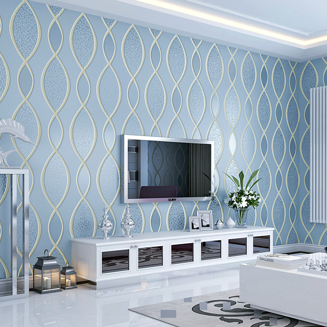 Environmental simple modern wall paper 3d wallpaper living for What size tv do i need for a 12x15 room