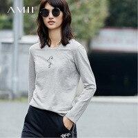 Amii Casual Women T Shirts 2017 Autumn Print Solid O Neck Long Sleeve Tees Tops