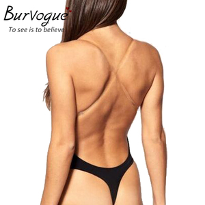 Image 3 - Burvogue Mergulho Profundo Sexy Thong Backless Profundo U Corpo Shaper shapewear Roupa Interior Para Vestido de Empurrar Para Cima As Mulheres Bodysuit Tiras Claras