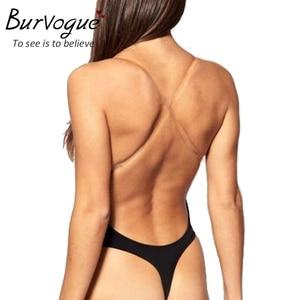 Image 3 - Burvogue сексуальное Корректирующее белье с глубоким вырезом, стринги с открытой спиной, глубокий U образный вырез, Корректирующее белье для платья, пуш ап, Женское боди с прозрачными лямками