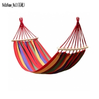 200 X 80cm Canvas Double Spreader Bar Hammock Garden Camping Swing Hanging Bed Prevent Rollover Blue