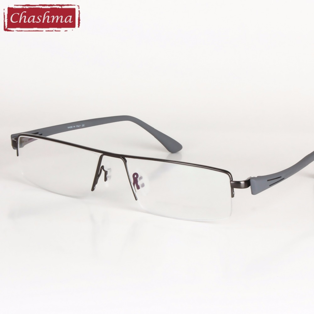 Big Frame Titanium Alloy Eyeglass Half Rimmed Men Wide ...
