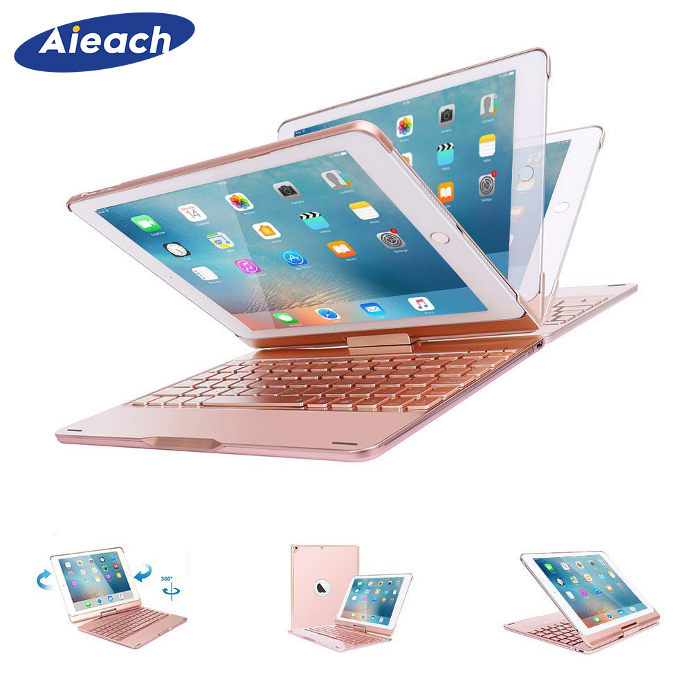 Smart Keyboard Case For iPad Air 1 Air 2 9.7 inch With 7 Color Backlit 360 Degree Rotating Hard Back Cover For iPad 5 6 Funda