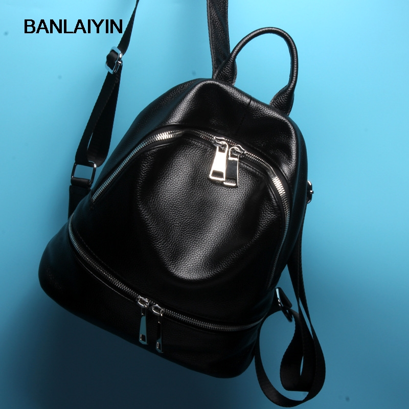 Brand Luxury Vintage Women Genuine Leather Backpacks For Teenage Girls Preppy School Bags Female Backpack Leisure Shoulder Bag