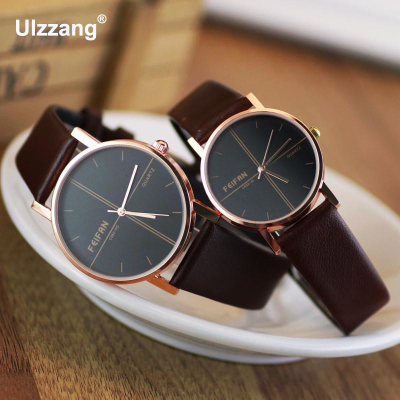 2018 Luxury Dress FEIFAN Rose Gold Japan Core Genuine Leather Quartz Watch Wristwatches for Women Girls Ladies Black Brown