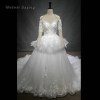 Luxury Ball Gown Flowers Ivory Lace Wedding Dress 2018 with Peplum Church Short Sleeves Bridal Gowns Custom Made robe de mariee