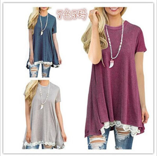 Women's Crewneck Lace Short Sleeve Loose Layered Tunic Top Casual T Shirt For Leggings Casual femme Elegant sexy TOP
