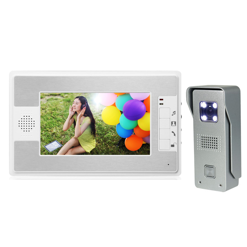 7 LCD Monitor Video Door Phone Intercom Doorbell System Home Security Intercom Kits IR Camera Door bell Intercom Doorphone homefong 7 tft lcd hd door bell with camera home security monitor wire video door phone doorbell intercom system 1200 tvl