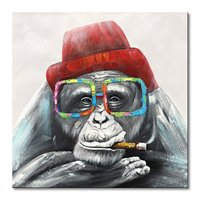 Canvas Wall Art Gorilla Monkey In a Red Hat Handmade Animal Oil Painting Abstract Home Decor for Bedroom 32x32